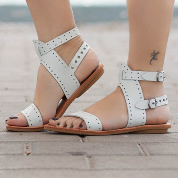 Women Large Size Open Toe Roman Beach Flat Sandals 131058