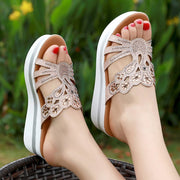 Big Size Women Summer Rhinestone Hollow Wedge Heel Platform Sandals 131062