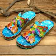 Women Hand Painted Flowers Pattern Genuine Leather Retro Gems Stitching Comfortable Slip On Sandals 131064