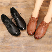 Women Casual Soft Comfy Microfiber Lace Up Flat Mother Shoes 131071