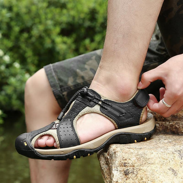 Men Genuine Leather Anti-collision Toe Lace Up Sandals