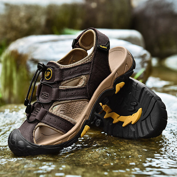 summer men's leather sandals men's  leisure beach slippers outdoor river