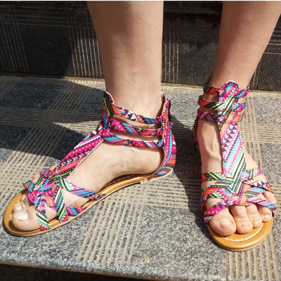 Women's Summer Flat Bottomed National Storm Large Size  Sandals