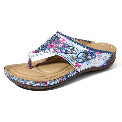 Women Clip Toe Colorful Flip Flops Stitching Beach Casual Sandals Shoes