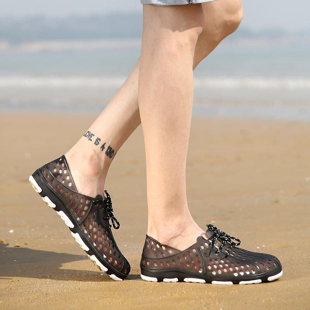 Men Hollow Out Breathable Flat Casual Lace Up Outdoor Beach Sandals Shoes