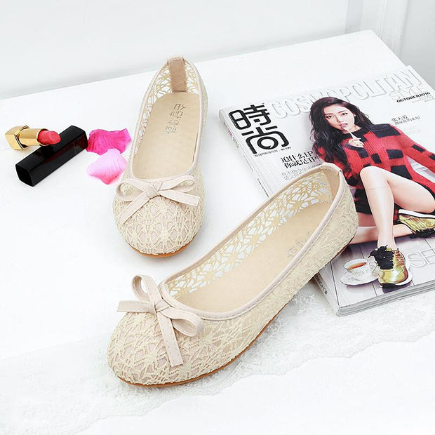 Women Summer Lace Bow Decoration Loafers
