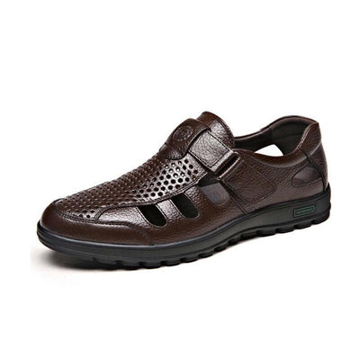 Men's leather sandals, casual shoes hole hole shoes driving 132936
