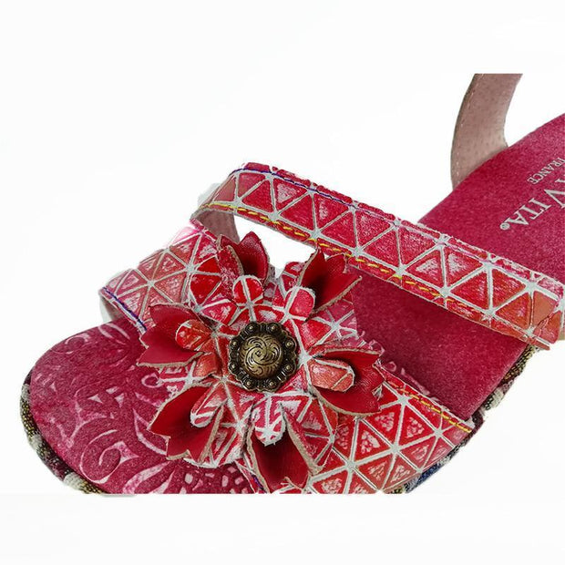 LAURA VITA BECAUTEO 119 Retro Genuine Leather Handmade PAINTED VELCRO Original Comfortable SANDAL