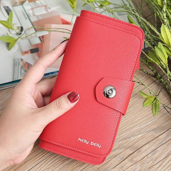 Women PU Leather 16 Card Slot Wallet Solid Multi-function Phone Bag