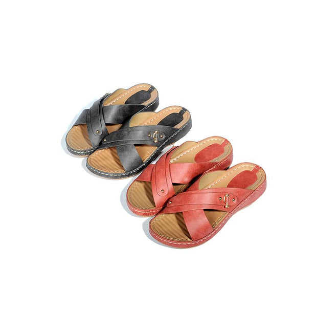 Non-Slip Comfortable Flip Flops Backless Beach Flat Sandals For Women 133690