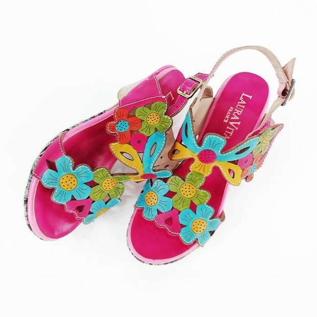 134002 LAURA VITA BECLFORTO 919 Retro Genuine Leather Handmade PAINTED VELCRO Original Comfortable SANDAL
