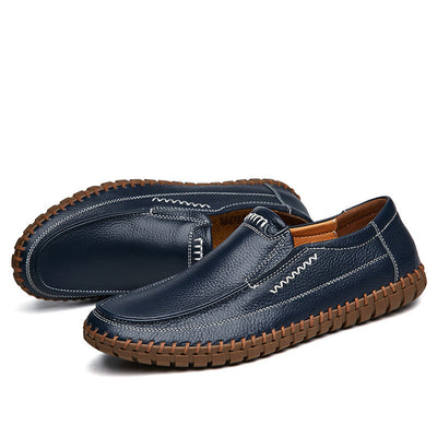 Men Hand Stitching Comfy Soft Sole Slip On Leather Loafers 133344