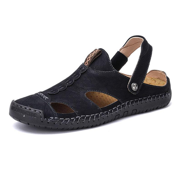 Men's leather sandals fashion large size beach shoes slippers