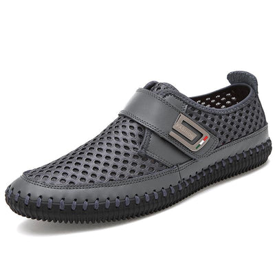 Men's Casual Leather Breathable Comfortable Loafers Fashion Soft Outdoor Mesh Flat Shoes