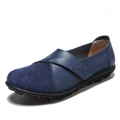 Women's Splicing Leather Hook Loop Soft Sole Casual Flat Loafers
