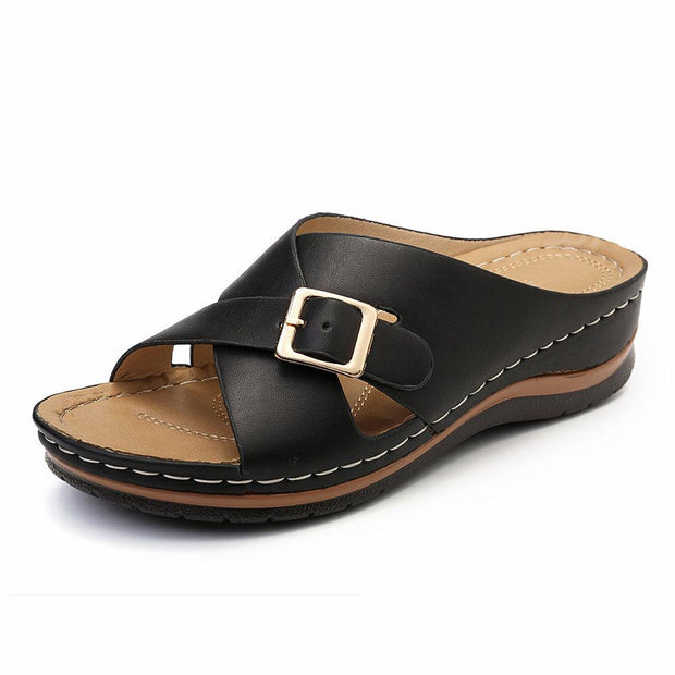 Cross Buckle Slippers Peep Toe Casual Wedges Sandals