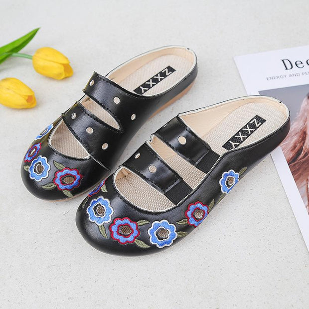 Women's Embroidery Pointed-Toe Comfortable Satin Casual Mules House Pumps Slippers Shoes  134698
