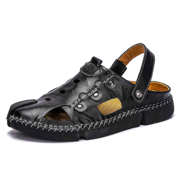 Men's summer new personality fashion casual leather beach shoes slippers