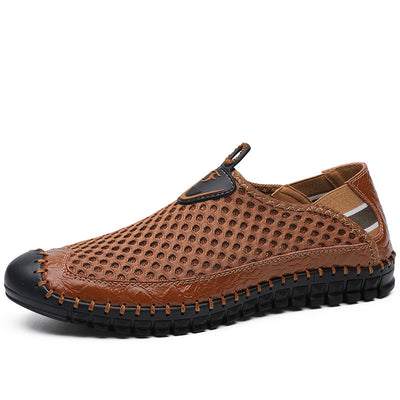 Men's Breathable Mesh Leather Casual Hollow Barefoot Shoes