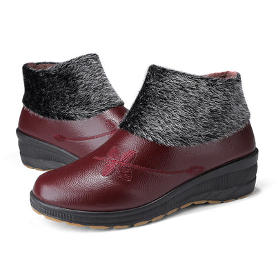 135871 Women's Cotton Shoes PU Leather Warm Mother Shoes Comfortable Tendon Bottom Non-slip Boots