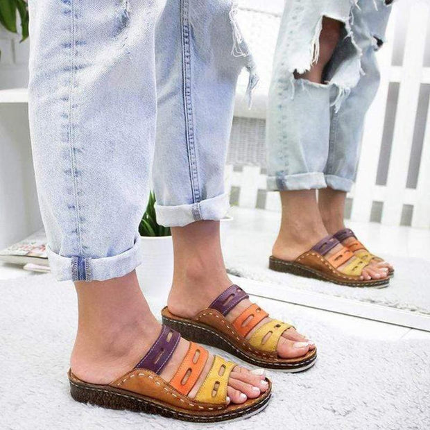 Women's Tri-color Sewing Summer Sandals