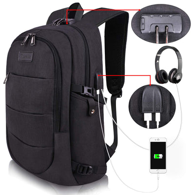 Men and Women's Travel Laptop Backpack Water Resistant Anti-Theft USB Charging Port and Lock Bag