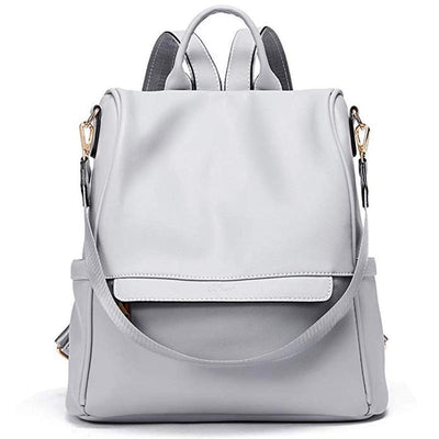 Women's Solid Color Large-Capacity Anti-Theft Backpacks Shoulder Bags
