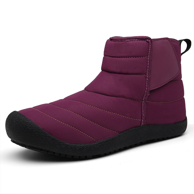 Men Outdoor Slip On Waterproof Anti-Slip Fur Lined Ankle Winter Snow Boots