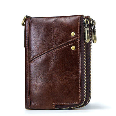 Men's Multi-Functional Double Zipper Vertical Wallet