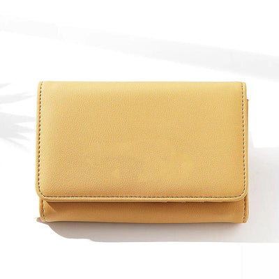 Women's Plain Solid Color Trifold Card Holder Coin Purse Phone Bag Wallet