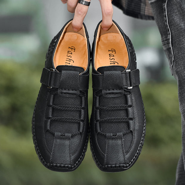 Large Size Men Classic Hand Stitching Comfy Soft Slip On Casual Leather Shoes
