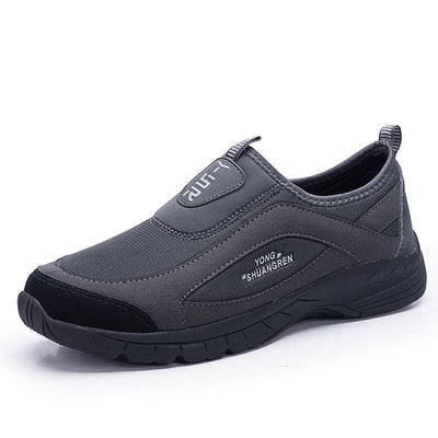 Men's Leather Mesh Breathable Solid Color Slip-On Sneakers