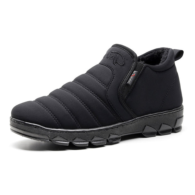 Men's new fashion waterproof and velvet warm non-slip middle-aged winter snow cotton shoes