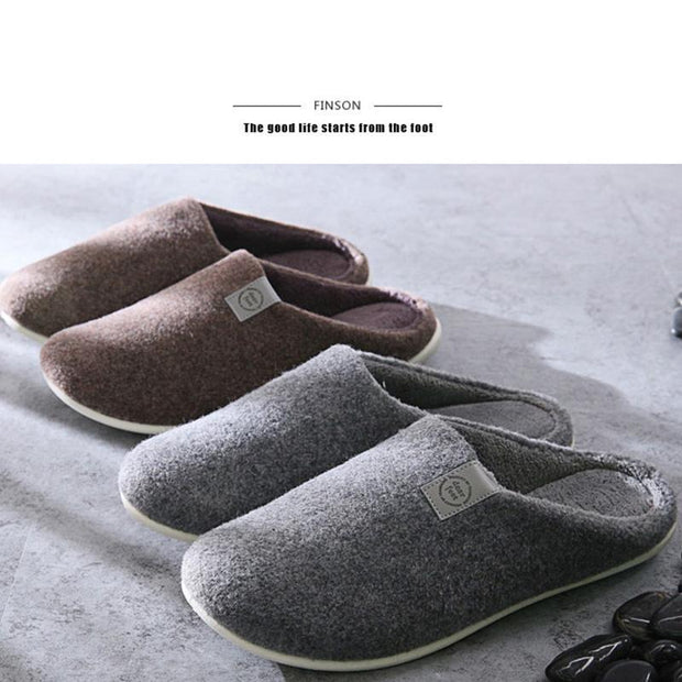 Men's Winter Indoor Home Thick-Bottomed Plush Warm Floor Home Slippers