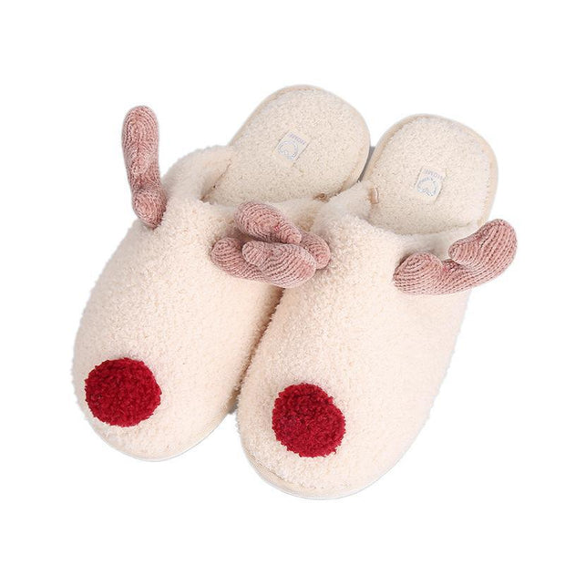 Women's Cartoon Animal Cute Plush Couple Home Non-Slip Thick Warm Slippers