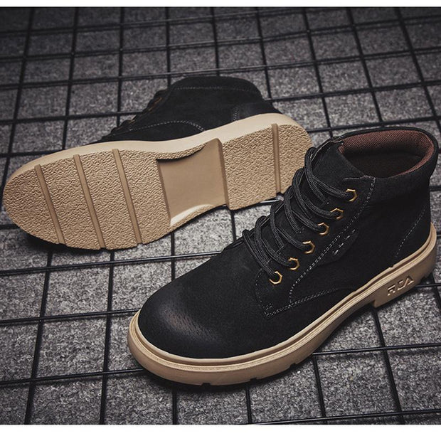 Men's New Plus Velvet Casual Leather Tooling Solid Color Fashion Korean Version Of The Tide Shoes