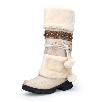 138308  Women's warm fur tassel knee high platform snow boots