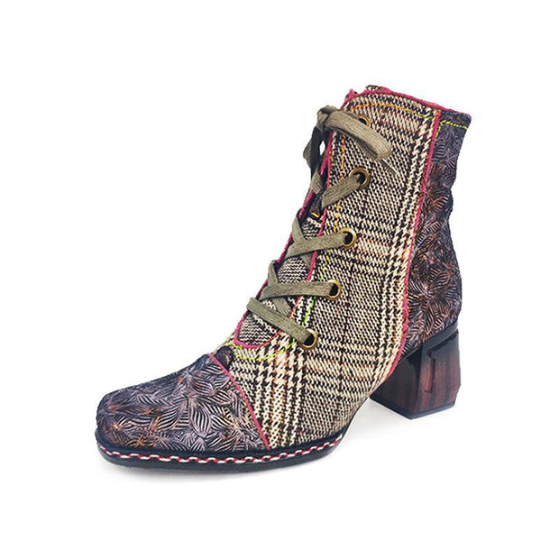 GOCALO 02 Genuine Leather Splicing Checkered Zippered Boots Square Heel Women's Boots