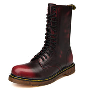 Fashionable Add Fluff Cowhide High Top Martin Boots Leather Thick Sole Wear-resistant Men's Boots