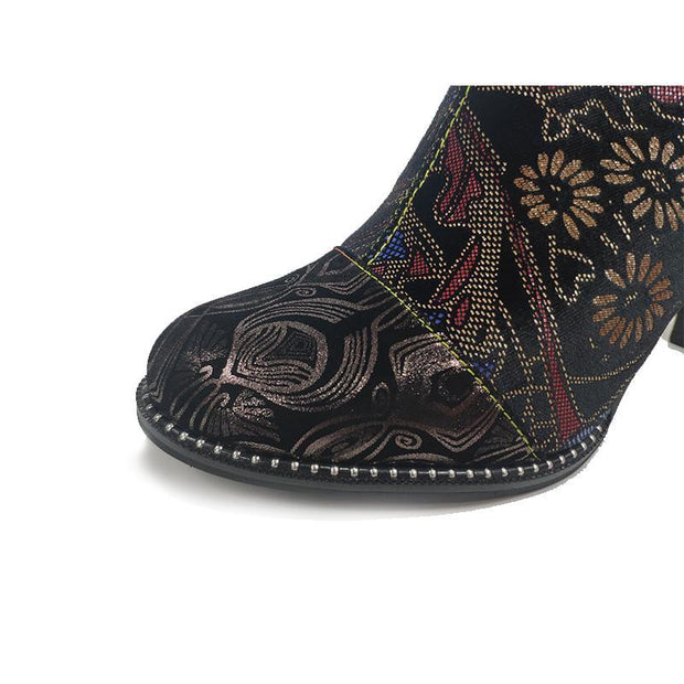 ALCBANEO 039F Retro Genuine Leather Printing Handmade Women shoes Lace High Heel Ankle Boots