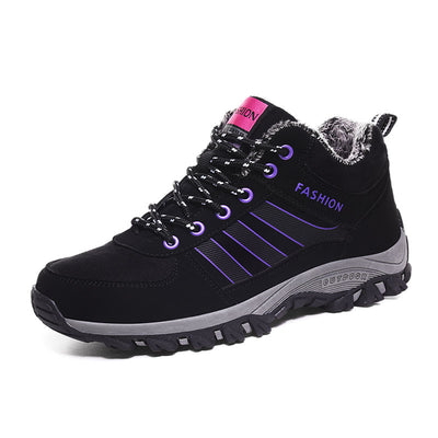 Women's non-slip shoes plus velvet health warm soft bottom outdoor sports shoes