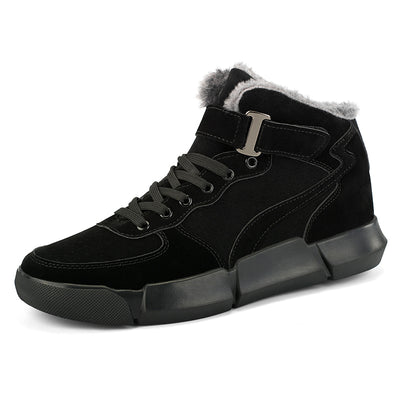 Men casual shoes in winter to keep warm velvet magic buckle shoes