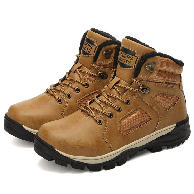 Men warm hiking shoes and cotton overalls shoes