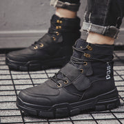Winter casual Martin boots in the tube boots street trend tooling shoes England plus velvet thick men's cotton shoes