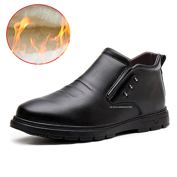 Autumn and winter new plus velvet warm men's leather boots Casual high help Martin boots cotton shoes