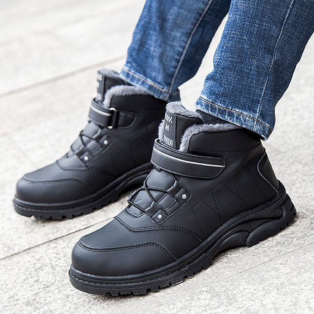 Men walking shoes to keep warm in winter and cotton comfortable sneakers magic buckle