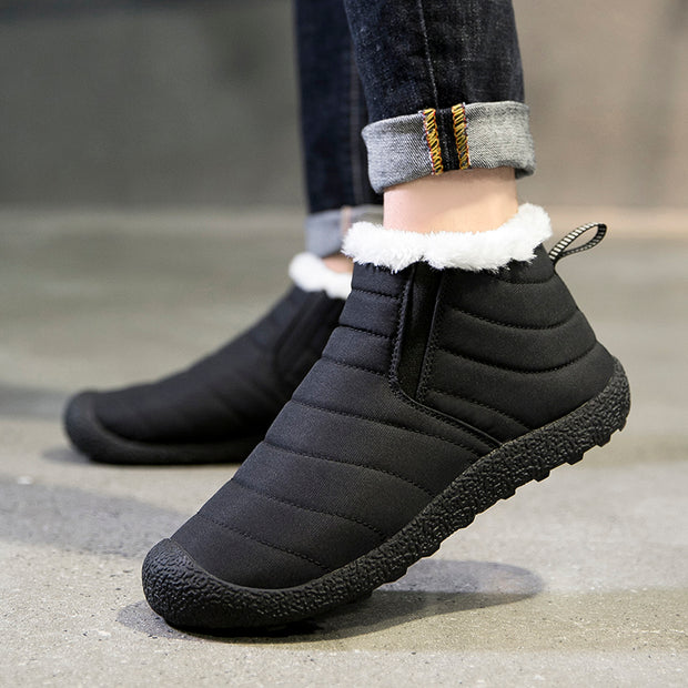 New winter cotton shoes men's snow boots high to help plus velvet anti-splash cotton shoes men