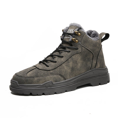 Winter men's shoes warm plus velvet high shoes large size British wind retro tooling boots Martin boots men's tide shoes