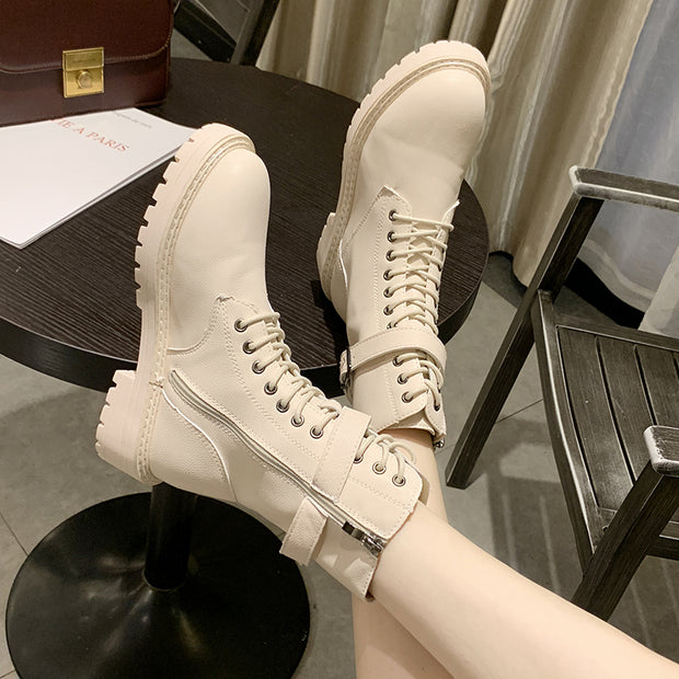 Women Martin boots pure color restoring ancient ways boots in winter