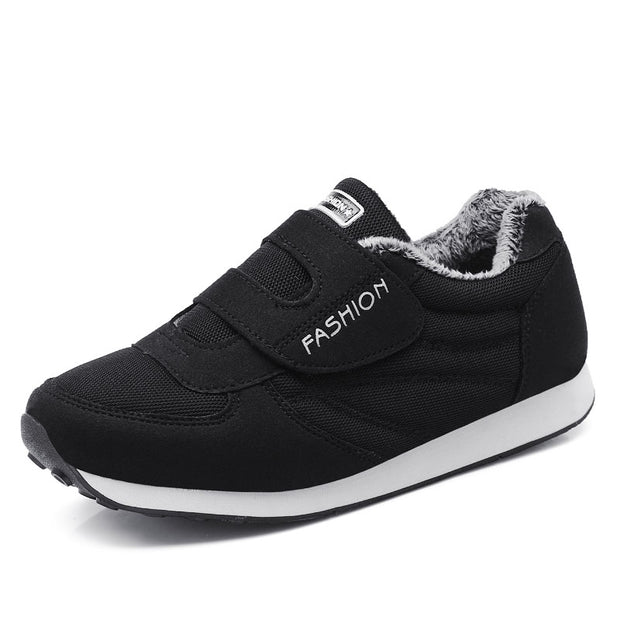 Women walking shoes to keep warm winter with cotton Velcro sneakers